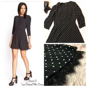Forever 21 Lace Trimmed Polka Dress